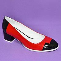 Женские лаковые классические туфли на невысоком каблуке, черный/красный цвет, фото 1