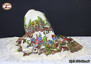 Павлопосадский кремовый платок Алёна, фото 3