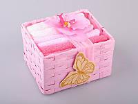 Набор салфеток махровых 30Х30 см бело-розовые 6 шт в коробке с декором 813-022