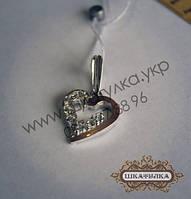 Серебряная подвеска с золотом и фианитом №35з
