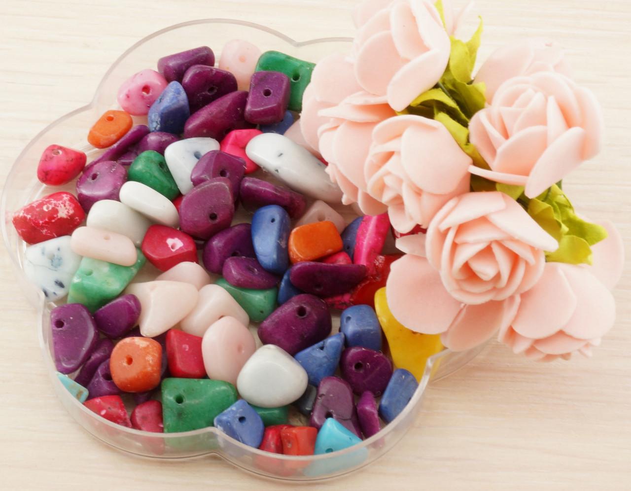 Бусины из натурального камня крошка крашенный агат 3 (10 грамм)