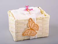Набор салфеток махровых 30Х30 см бежевые 6 шт в коробке с декором 813-023