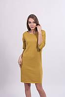 Красивое женское вязаное платье цвет горчица.
