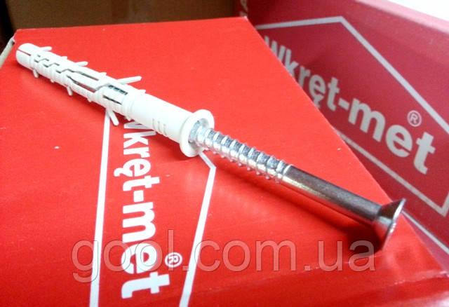 Дюбель распорный с шурупом с потайной головкой KPS FAST Wkret-met 10x140мм упаковка 50 штук