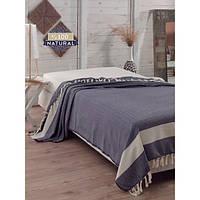 Покрывало хлопковое Eponj Home - Enlora Baliksirti Lacivert синее 200*240