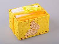 Набор салфеток махровых 30Х30 см бело-желтые 6 шт в коробке с декором 813-024