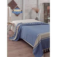 Покрывало хлопковое Eponj Home - Enlora Elmas Mavi синее 200*240