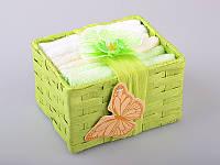 Набор салфеток махровых 30Х30 см бело-салатовые 6 шт в коробке с декором 813-026