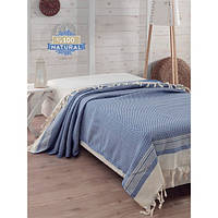 Покрывало хлопковое Eponj Home - Enlora Haris Mavi синее 200*240