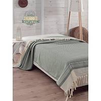 Покрывало хлопковое Eponj Home - Enlora Haris Yesil зеленое 200*240