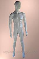 Мужской манекен серебряный лакированный