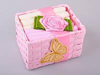 Набор салфеток махровых 30Х30 см бежево-розовые 6 шт в коробке с декором 813-027