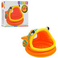 Детский надувной бассейн Intex 57109 Ленивая рыбка с навесом (124х109х71 см)