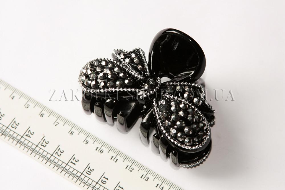 Крабы для волос; материал: черный лакированый пластик с камушками, 1 штука