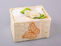 Набор салфеток махровых 30Х30 см бело-бежевые 6 шт в коробке с декором 813-028