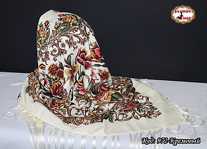 Павлопосадский кремовый платок Алиса, фото 2
