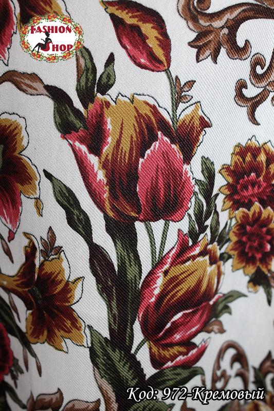 Павлопосадский кремовый платок Алиса