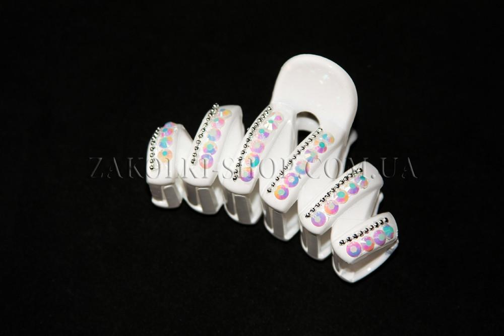 Крабы для волос; материал: белый лакированый пластик с камушками хамелеон, длина: 8,5 см, 1 штука