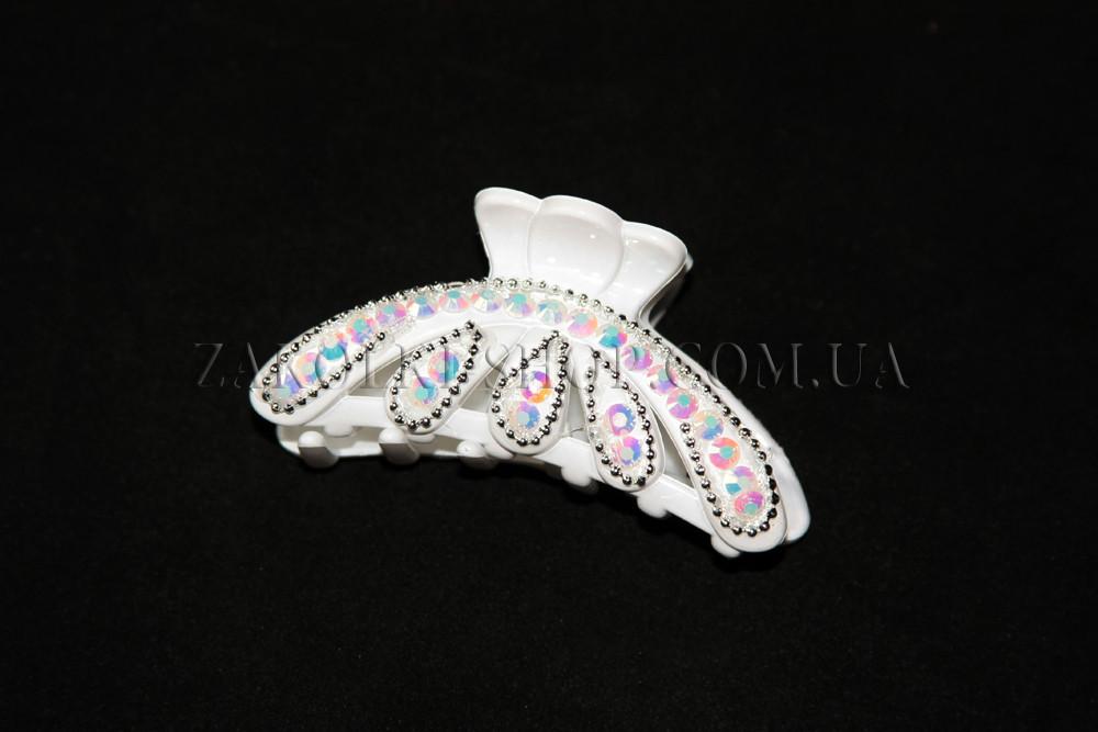 Крабы для волос; материал: белый лакированый пластик с камушками хамелеон, длина: 8 см, 1 штука