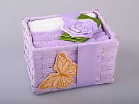 Набор салфеток махровых 30Х30 см бело-фиолетовые 6 шт в коробке с декором 813-029