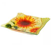 Салатник прямоугольный (21,5*21,5*3см) Солнечный букет (в упаковке 6 штук)