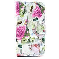 Чехол книжка для Samsung Galaxy S3 i9300i Duos боковой с отсеком для визиток, Эйфелева башня и цветы