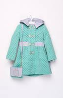 Пальто демисезонное с сумочкой детское горох на девочек 92 -122  рост, фото 1