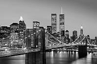 Фотообои бумажные на стену 115х175 см 1 лист: Ночной город, Нью-Йорк Манхэттен