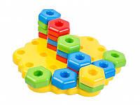 Развивающая игрушка мозайка для самых маленьких Снежинка крупные детали, фото 1