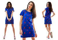 Льняное синее платье-туника с вышивкой Вишенка. Арт-1036