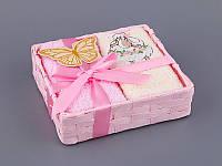 Набор салфеток махровых 30Х30 см бежево-розовые 4 шт в коробке с декором 813-045