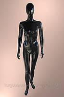 Манекен чёрный женский лакированный