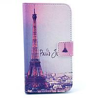 Чехол книжка для Samsung Galaxy S3 i9300i Duos боковой с отсеком для визиток, Париж и Эйфелева башня