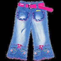 Детские джинсы для девочки р 98-104 с вышивкой и карманами, Китай, ТМ Ромашка