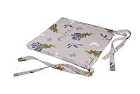 Подушка на табурет с завязками с принтом Серая лаванда.