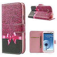 Чехол книжка для Samsung Galaxy S3 i9300i Duos боковой с отсеком для визиток, Розовый бант