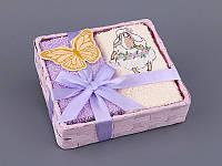 Набор салфеток махровых 30Х30 см бежево-фиолетовые 4 шт в коробке с декором 813-046