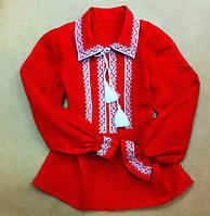 Детская вышиванка красный лен