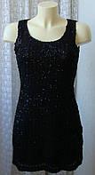 Платье женское вечернее черное в пайетках мини бренд Mela р.44 6192