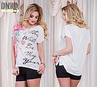Женская батальная летняя футболка с принтом
