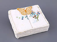 Набор салфеток махровых 30Х30 см Цветочки 4 шт в коробке с декором 813-049