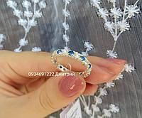 Серебряное кольцо с камнями по периметру, фото 1