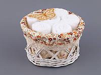Набор салфеток махровых 30Х30 см белые 6 шт в круглой коробке с декором 813-041