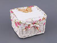 Набор салфеток махровых 30Х30 см белые 6 шт в прямоугольной коробке с декором 813-037