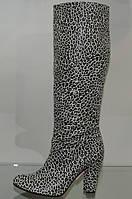 Сапоги женские кожаные на каблуке