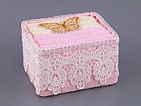 Набор салфеток махровых 30Х30 см бежево-розовые 6 шт в прямоугольной коробке с декором 813-042