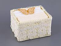 Набор салфеток махровых 30Х30 см бело-бежевые 6 шт в плетенной коробке с кружевом  813-044