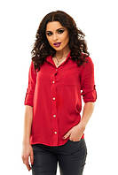 Рубашка Натуральная Рукава Подкаты на Пуговке Блуза Весенняя