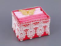 Набор салфеток махровых 30Х30 см розово-красные 6 шт в плетенной коробке с кружевом  813-043