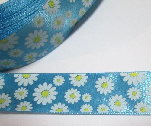 Лента атлас Ромашки 2,5 см, голубая